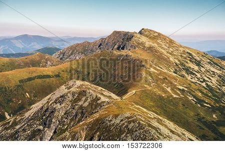 Low Tatras National Park Mountain Ridge. Way to Mount Dumbier.