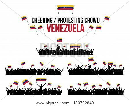 A set of 5 Venezuela silhouettes of cheering or protesting crowd of people with Venezuelan flags and banners.