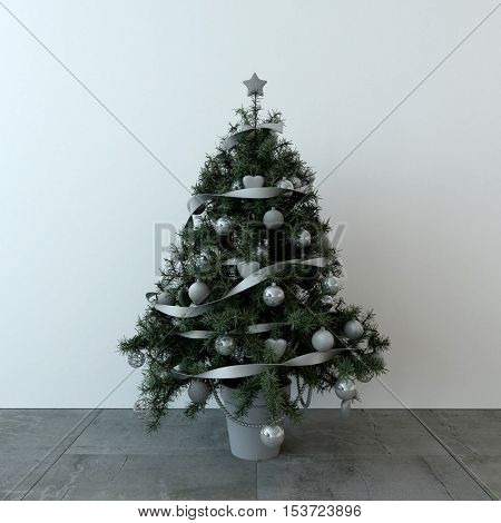 Decorated natural pine Christmas tree in a plant pot with silver baubles and ribbon standing on paving stones with copy space for your seasonal holiday greeting. 3d Rendering.