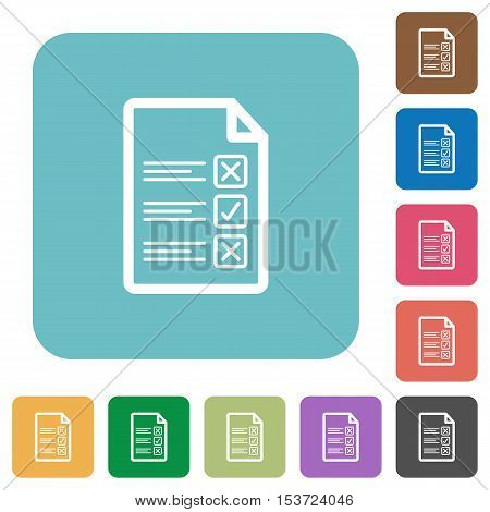 Questionnaire document white flat icons on color rounded square backgrounds