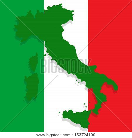Map of Italy depicted in the background of the national flag