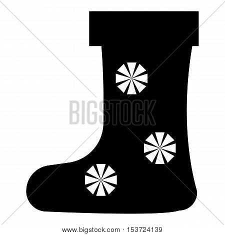 Felt boot with snowflake icon. Simple illustration of felt boot with snowflake vector icon for web