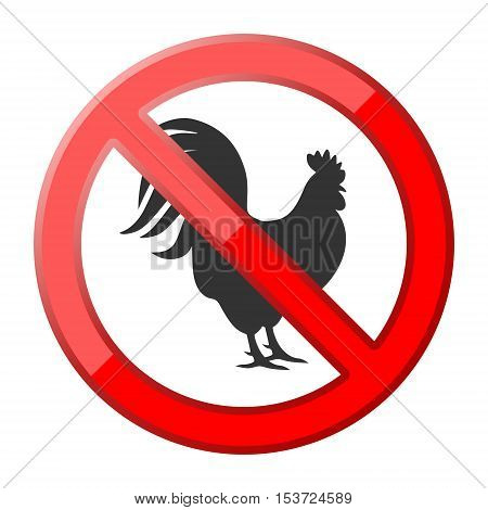 Red No rooster traffic sign on white background