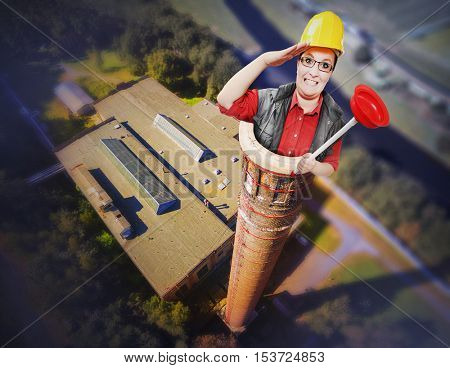 Funny repairman or sweeper sweeping to chimney. House maintenance in winter season. Digital artwork on industrial theme. Service industry from above.