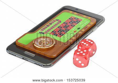 Casino play online concept on smartphone screen 3D rendering