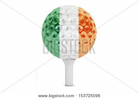 golf ball on a tee with flag of Ireland 3D rendering isolated on white background