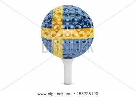 golf ball on a tee with flag of Sweden 3D rendering isolated on white background