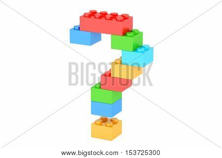 Question mark from plastic building blocks 3D rendering isolated on white background