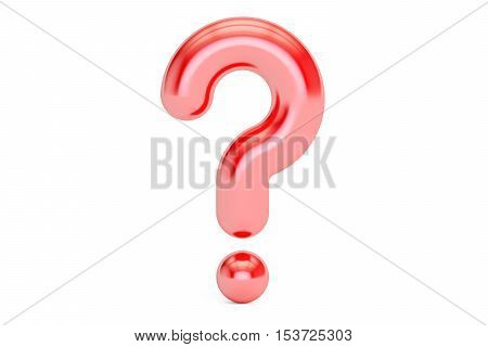 red question mark 3D rendering isolated on white background