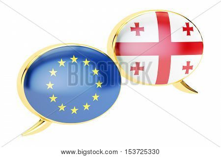 Speech bubbles EU-Georgia conversation concept. 3D rendering isolated on white background