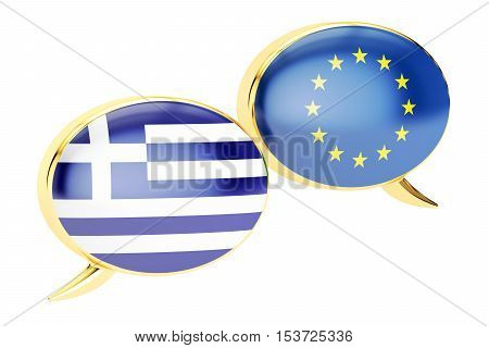 Speech bubbles EU-Greece conversation concept. 3D rendering isolated on white background