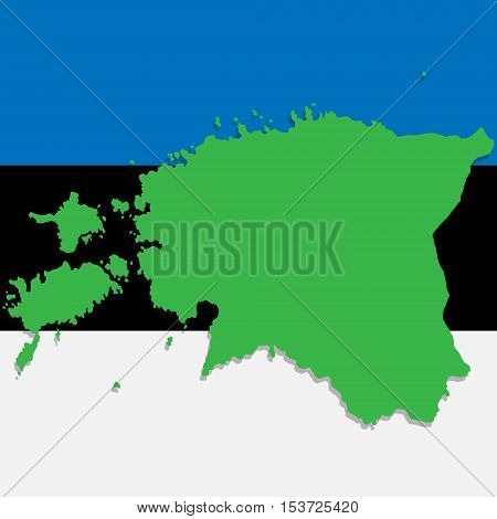 Map of Estonia depicted in the background of the national flag