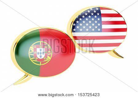 Speech bubbles Portugal-USA conversation concept. 3D rendering