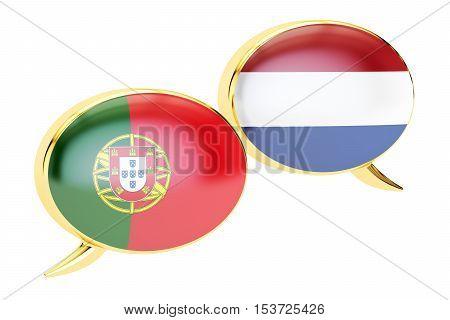 Speech bubbles Portuguese-Dutch translation concept. 3D rendering