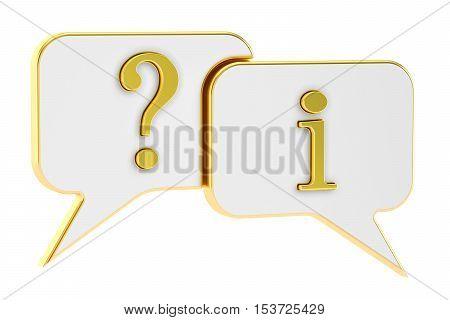 Speech Bubbles Question Information concept 3D rendering