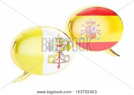 Speech bubbles Vatican-Spain conversation concept. 3D rendering