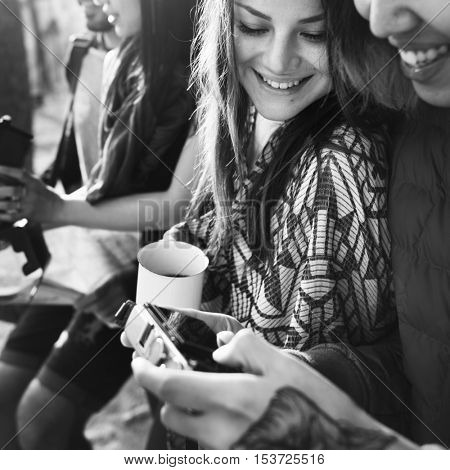 People Friendship Camera Photographing Hobby Concept