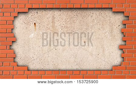 Concrete slab in the gap of a brick wall as the background