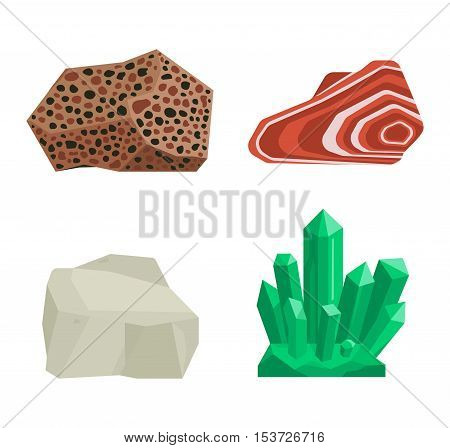 Collection set of semi precious gemstones vector stones and mineral stone isolated on white background. Colorful shiny gemstone. Mineral stone jewelry material agate mineral stone geology crystal