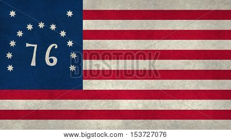 Historic American national flag the 1776 Bennington flag with grungy worn distressed textures