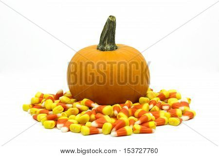 Small pumpkin surrounded by candy corn isolated