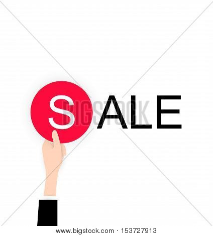 White flat Hand holding sale label for black friday. Vector icon for web or app. Infographics. Business discount for people. Trending material flat style with shadow. White background.