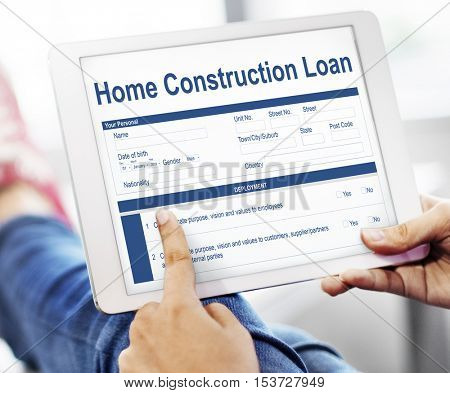 Home Construction Loan Document Form Concept