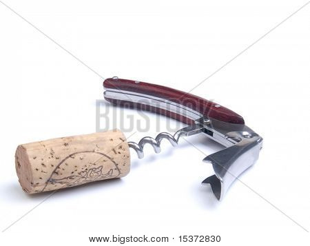 Cork and elegant corkscrew mahogany pieces isolated on white