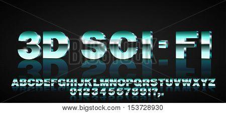 Retro fantastic 3d sci-fi blue azure lilac aqua cyan green vector font