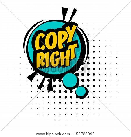 Comic sound effects pop art vector style. Sound bubble speech with word and comic cartoon expression sounds illustration. Lettering copy right. Comics book blue background template.