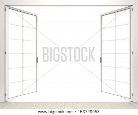 3d rendering open white window on white background