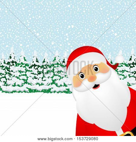 Santa Claus standing in the forest vector illustration holiday