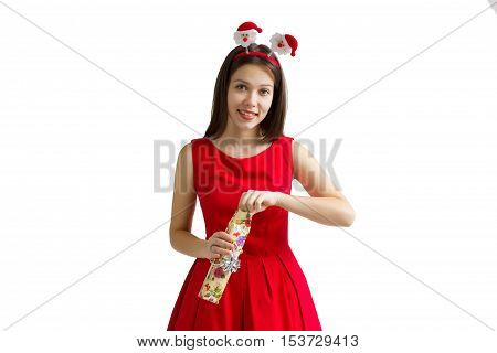 christmas, holiday, valentine's day and celebration concept - smiling young woman in red dress with gift box.
