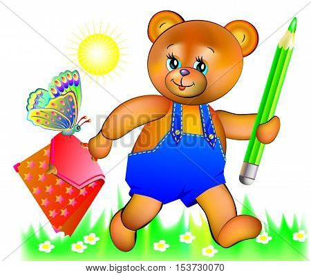 Illustration of happy teddy bear going to school, vector cartoon image.