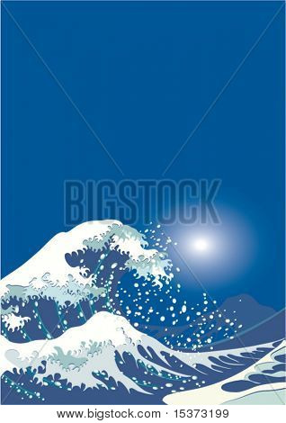 Storm in the ocean, vector background