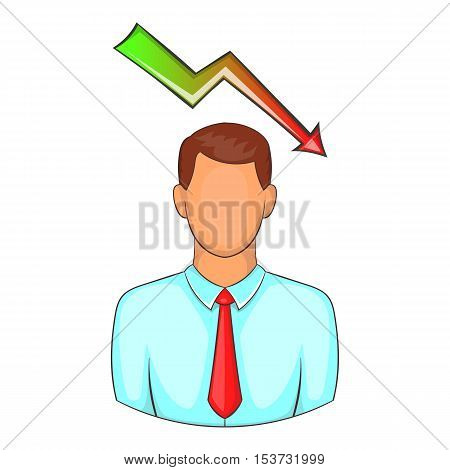 Man with falling graph over his head icon. Cartoon illustration of human emotion vector icon for web design