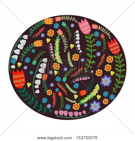 Vector stylized childlike set of bright plants and flowers in a special dark frame. Design element for dishes plates and vessels. Childlike and naive theme decoration. Books magazines.