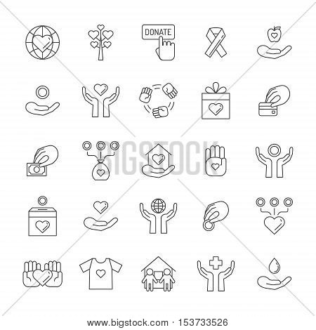 Donations and charity outline icon set. Simple design.