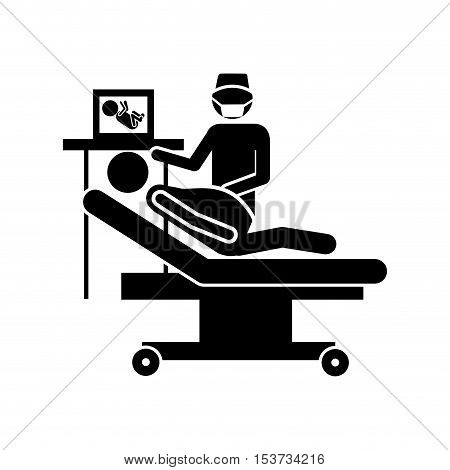 pregnant woman in hospital icon image vector illustration design