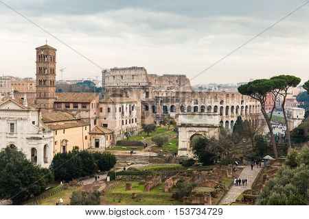 Roman ruins and the Colosseum in Rome, Italy
