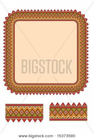 African stiled indigenous border with samples for pattern brash