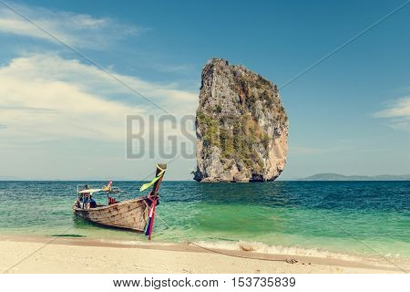 Water Taxi Tourism Long Tail Boat Beach Concept