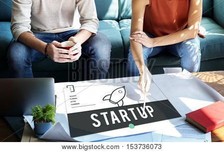 Start up Launch Mission New Business Concept