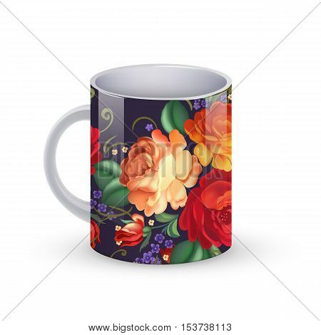Vector illustration of Coffee cup template illustration with flower russian traditional pattern.