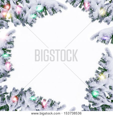 frost. Winter landscape. Snow covered trees. frame.