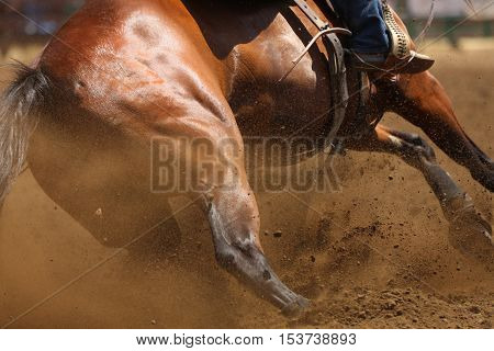 A close up action photography image of a galloping horse sliding and skidding with dirt flying everywhere.