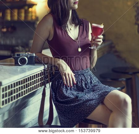 Fashionable Woman Drinking Cocktail Concept