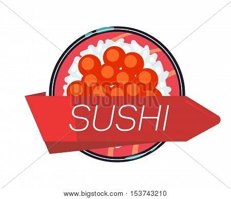 Japanese sushi menu vector illustration template. Seafood roll and decoration element