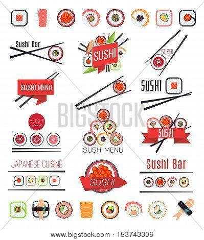 Japanese sushi bar or restaurant menu vector. Big set of logotype illustration