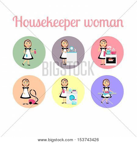 Housekeeper woman make housework. Circle icons vector set